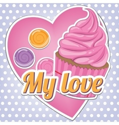 Sweets on a background of heart vector image vector image
