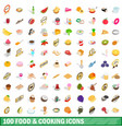 100 food and cooking icons set isometric 3d style vector image