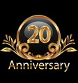 20 years anniversary birthday in gold vector image vector image