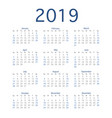 2019 calendar year simple calendar layout for vector image