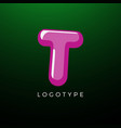 3d playful letter t kids and joy style symbol vector image vector image
