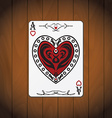 Ace hearts poker card varnished wood background vector image vector image