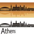 athens skyline in orange background
