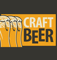 banner for craft beer with three beer glasses vector image vector image
