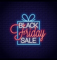 black friday neon banner gift box sale neon sign vector image