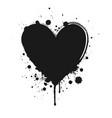 black ink grunge heart vector image
