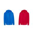 blank red blue mens hoodie sweatshirt long sleeve vector image vector image