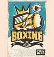 boxing club emblem and poster design vector image vector image