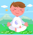boy in meditation pose vector image vector image