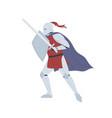 brave medieval knight in full body armor vector image