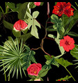bright seamless pattern with tropical red flowers vector image vector image