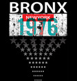 bronx new york sport typography t-shirt graphics vector image vector image