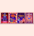 carnival funfair flyers with circus tent vector image vector image