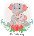 cartoon mother and baelephant sitting vector image vector image
