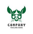 cat head leaf logo design template vector image vector image