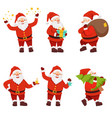 christmas characters collection cute santa in vector image vector image