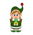christmas elf character holding a present vector image vector image