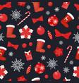 christmas seamless pattern socks candy lollipop vector image