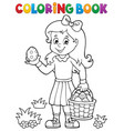 coloring book girl with easter eggs 1 vector image vector image