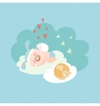Cute baby angel sleeping with cat vector image vector image