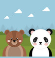 cute bear and panda in the field landscape vector image