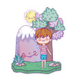 cute little boy with mountain kawaii in the vector image