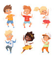 dancing childrens male and female set vector image