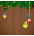 Decorated Merry Christmas Tree Branch Happy New vector image
