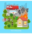 Firemen At Work Concept Flat Poster vector image