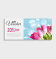 gift voucher card template with flowers 3d vector image vector image