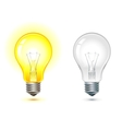 glowing and turned off light bulb vector image vector image