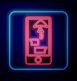 glowing neon buying drugs online on mobile phone vector image vector image