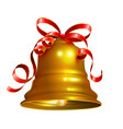 golden bell with red ribbon symbol accessory vector image vector image