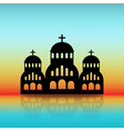 greek church black silhouette on dawn sky vector image