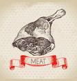 hand drawn sketch meat product vintage menu vector image vector image
