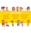 happy children holding poster vector image vector image