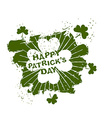 Happy Patricks day emblem grunge style Four leaf vector image vector image