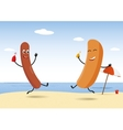 Hot-Dog party on beach vector image vector image