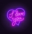 i love you neon lettering heart sign vector image vector image