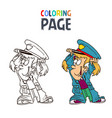 little girl wearing police clothes cartoon vector image