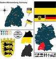 Map of Baden Wurttemberg vector image vector image