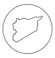 map of syria icon black color in round circle vector image vector image
