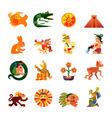 maya symbols flat icons set vector image