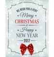 Merry Christmas and Happy New Year 2017 card vector image vector image