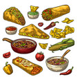 mexican traditional food set with guacamole vector image vector image