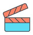 movie clapper board line icon film production vector image vector image