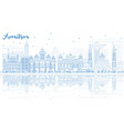 outline amritsar skyline with blue buildings and vector image vector image