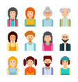 pixel male and female faces avatars vector image vector image