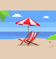 seaside and hammock-chair under umbrella palm tree vector image
