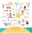 set colored summer doodle elements on white vector image vector image